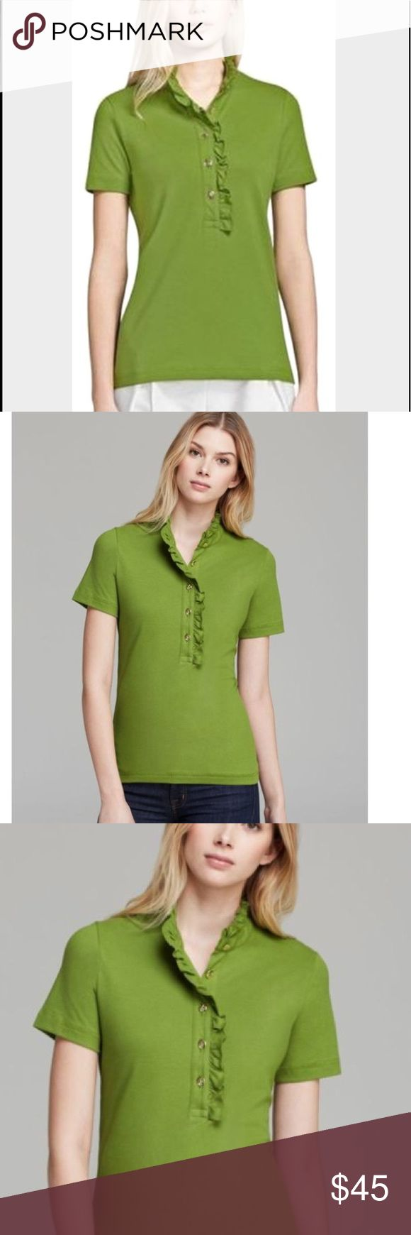 Tory Burch polo shirt Tory Burch green polo shirt . Beautiful popping green color ! Absolutely love this shirt hate to let it go but it's a bit small in me now. But it went with so many outfits and could be dressed down or up. It will be one of your absolute favorite shirts! It's in excellent condition!!! Last two pictures are same shirt and buttons just different color:) Tory Burch Tops Blouses