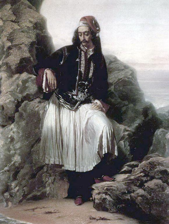 """Louis Dupre (1789-1837)-Προσωπογραφία του Ανδρέα Λοντου με φουστανέλα, Γύρω στα 1830 """"....χαρακτηριστική απεικόνιση των συναισθημάτων ενός Έλληνα, που οι ιστορικοί τέχνης αποδίδουν στον Ανδρέα Λόντο, φίλο του Λόρδου Βύρωνα. Το πρόσωπο και η στάση του σώματος προδίδουν κούραση, ίσως και θλίψη για κάποιο δυσάρεστο νέο."""""""