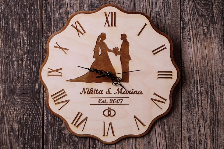 Personalized wedding clock Personalized wooden clock Wedding gift Wooden wall clock Wedding wood clock Anniversary gift Gift for couple.