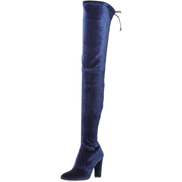 Stuart Weitzman Alllegs Stretch-Velvet Over-the-Knee Boot ($130) ❤ liked on Polyvore featuring shoes, boots, navy, shoes boots, stretch thigh high boots, navy boots, stretch boots, stuart weitzman boots and navy blue boots