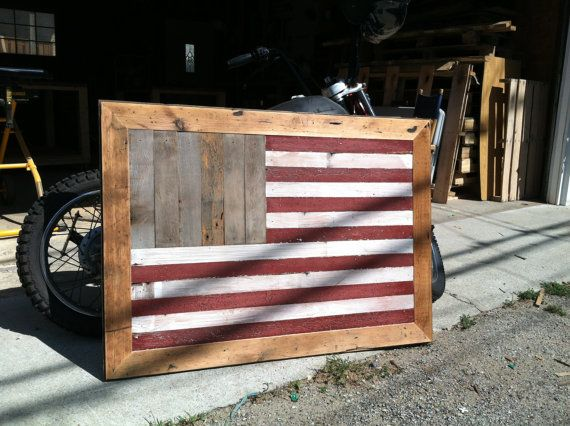Reclaimed Wood Art American Flag
