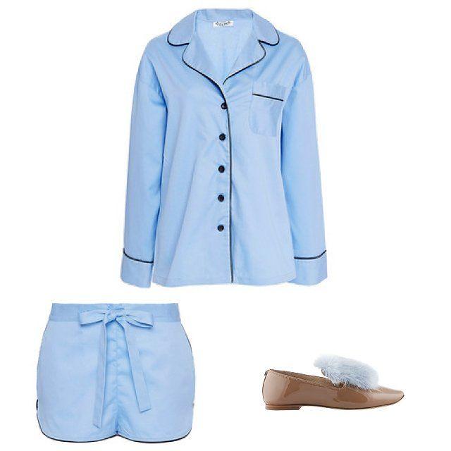 Sleeper blue piped cotton pajama set, $160, modaoperandi.com; Josephinas Desert Highway shoes, $365, josefinas.com