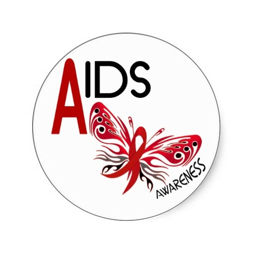 AIDS Awareness Red Butterfly Stickers