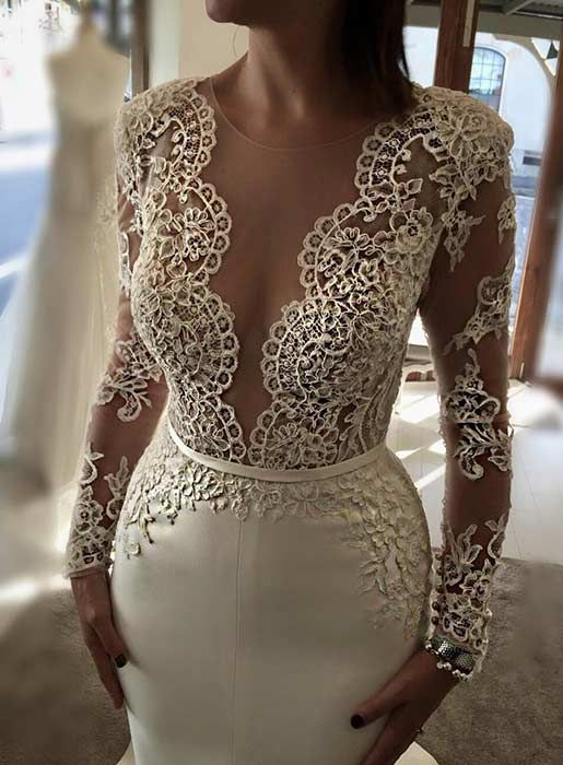 Sexy Wedding Dress with Long, Lace Sleeves