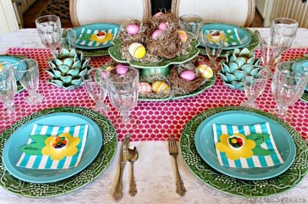 Easter / Spring colorful tablescape // turquoise // bordallo plates by shari