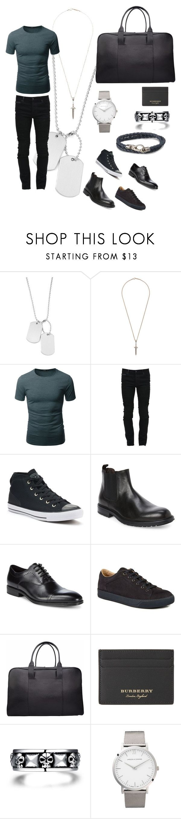 """Not afraid of the dark"" by chloeeve ❤ liked on Polyvore featuring Variations, Roman Paul, Doublju, Marcelo Burlon, Converse, Bruno Magli, Kenneth Cole, Lanvin, Burberry and Larsson & Jennings"