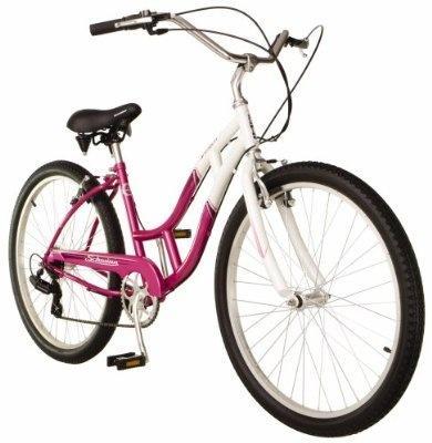 Cruiser Bike - Schwinn Southport Womens (26-Inch Wheels, White/Fuschia)