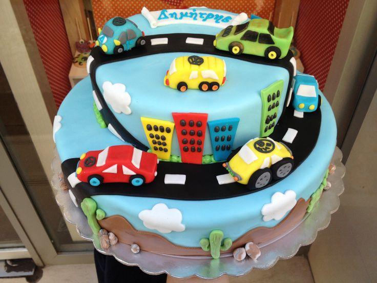 Τούρτες Γενεθλίων - Διόροφη με 3D αυτοκινητάκια! #sugarela #TourtesGenethlion #Aytokinitakia #3D #BirthdayCakes