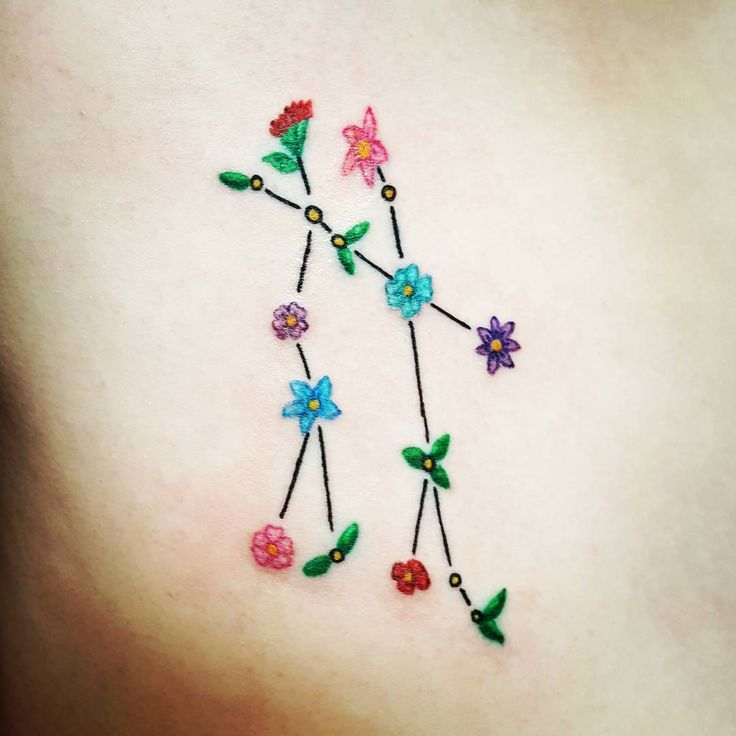 Gemini flower tattoo