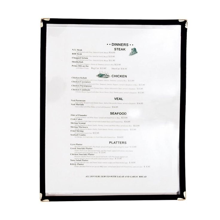 8 1/2 inch x 11 inch Single Pocket Menu Cover - Black  $1.14 for lots of 10, $0.84 for 50