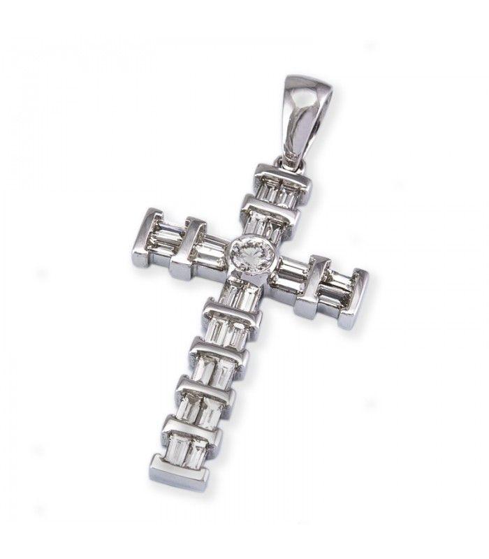 Colgante cruz de oro blanco y 1ct de diamantes brillante y baguette - Subastas Regent's | Joyas y Antigüedades