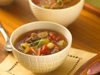 Quick Hamburger Soup - Combine extra-lean beef and turkey breast for low-fat beefy flavor.