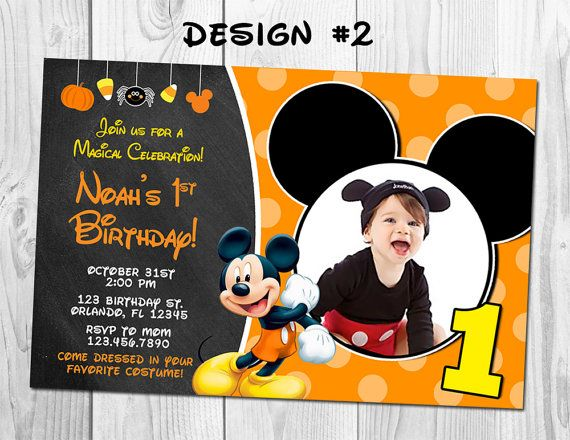 Mickey Mouse Halloween Costume Birthday Party Photo Invitations Donald Mickie…
