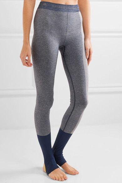 Adidas by Stella McCartney - Paneled Climalite Stretch-jersey Leggings - Navy - x small