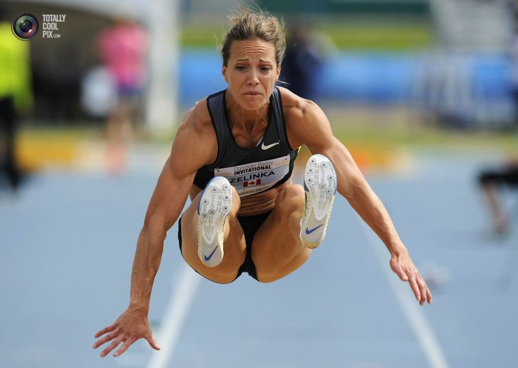 Zelinka of Canada jumps in the women's long jump event at the Donovan Bailey Invitational track and field meet in Edmonton. TODD KOROL/REUTERS