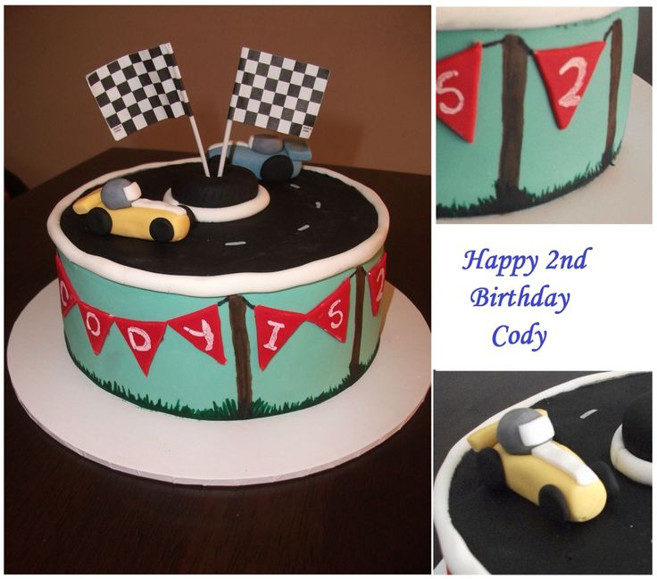 Simple fondant & hand painted birthday cake by Michelle-Marie's Kitchen