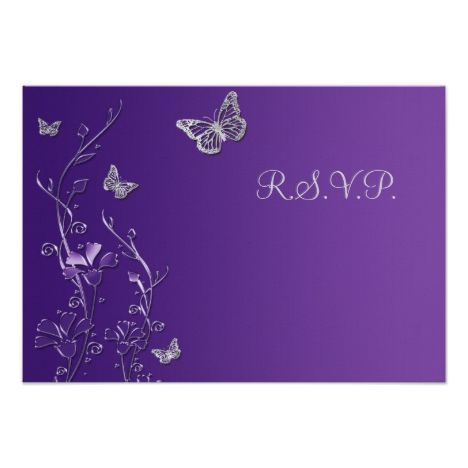Purple and Gray Floral with Butterflies Reply Card #fallwedding #greetings