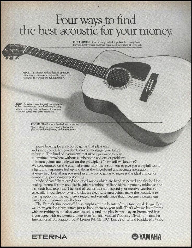 Yamaha Eterna Acoustic Guitar Series 1985 Advertisement 8 X 11 Ad B W Print Yamaha In 2021 Yamaha Guitar Acoustic Guitar Guitar