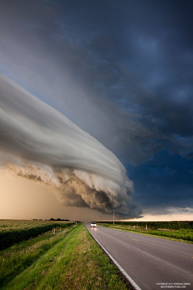 Super cell thunderstorm - Nebraska.  This is such a scary looking sky, but oh so cool at the same time. It almost looks like something right out of theTwilight Zone.