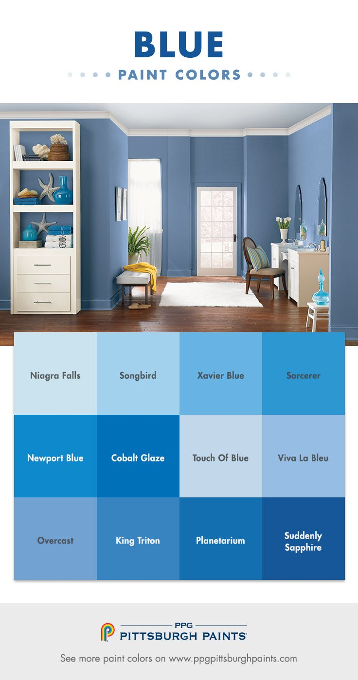 Blue Color Inspiration from PPG Pittsburgh Paints! Blue paint colors have been the most popular paint color family for a long time. Men and women both love blues – from the deep navy, to the pale sky blues, to a periwinkle. They all feel right. The connection to water and sky make it a very familiar color. Blues are hopeful – relating to the horizon on the sea, and feelings of trust, tranquil, loyal and patriotic.