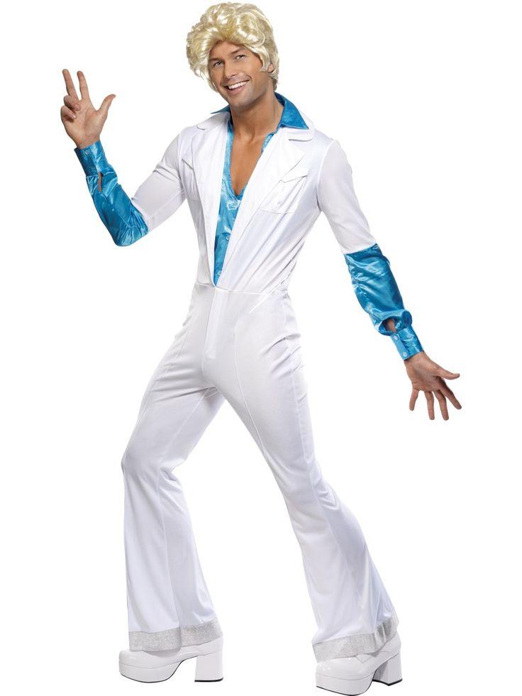 Discomies. Discomiehen naamiaisasu on jäätävän hieno haalariasu, joka sopii 70-luvun teemabileisiin kuin Travolta tanssilattialle.