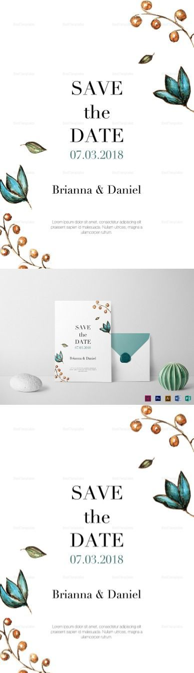 Simple Wedding Invitation Template - $12 - Formats Included :Illustrator, InDesign, MS Word, Photoshop, Publisher - File Size :5.25x7.25 Inchs