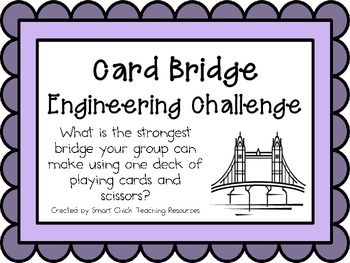 Engineering Challenge:  What is the strongest bridge your group can make using one deck of playing cards and scissors?  Materials: (per group)  One deck of cards Flat surface Scissors Weights (pennies, blocks, etc.)  This packet contains all the information you need to make this a great engineering activity in your classroom!