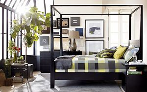 Pavillion Black Canopy Bed I Crate and Barrel...I want a canopy bed! Some day :(