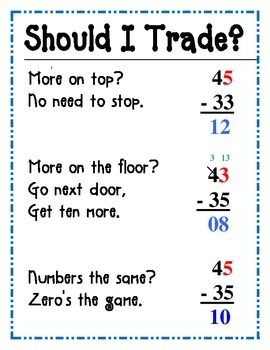 this easy subtraction poem will help students to remember when they  this easy subtraction poem will help students to remember when they should  trade or borrow and when they should not this step by step