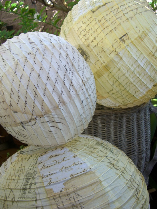 "Set of 4  Vintage Script Paper Lanterns $16 set / 3 sets for $15 set (8"",10"", 14"" & 16"")"