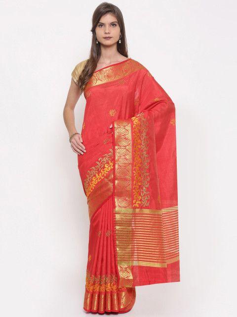 518668bd28 Buy The Chennai Silks Red Cotton Blend Embroidered Banarasi Saree - Sarees  for Women 2116424 | Myntra