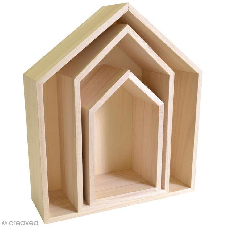 Achetez à prix mini le produit Etagères Maison à décorer en bois - 3 pcs - Livraison rapide, offerte dès 49,90 € !