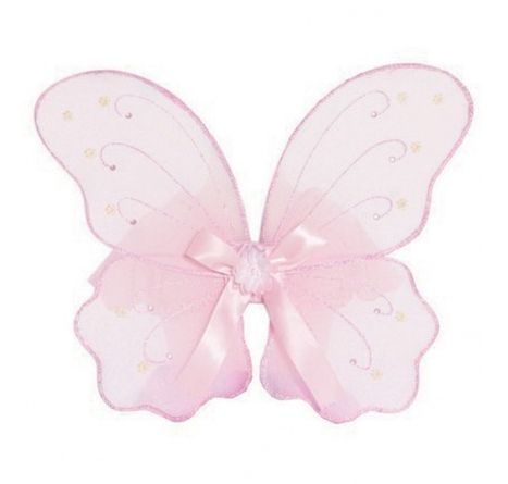 Pink Fairy Wings ~  This gorgeous pair of soft pink fairy wings is a guaranteed hit with any Fairy-to-be.  Reminiscent of butterfly wings with a magical twist, they are decorated with pearlized flowers and pink gems.   Straps are covered in satin for a comfortable (size flexible) fit, and a light pink, iridescent glitter decorates the edges of these wings.  Height:  Approx. 43cm £12.00