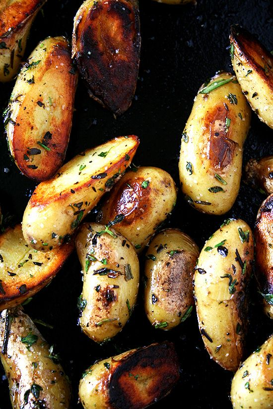 Fingerling Potatoes...Crispy or Not easy make-ahead recipe. Perfect method!  Don't double the salt if you double the potatoes--my mistake.