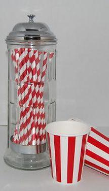 retro stripe paper straws,barber pole striped,soda shop dispenser - Jilly Bean Kids (530)988-8783 Call or Text Us! ($22.00)