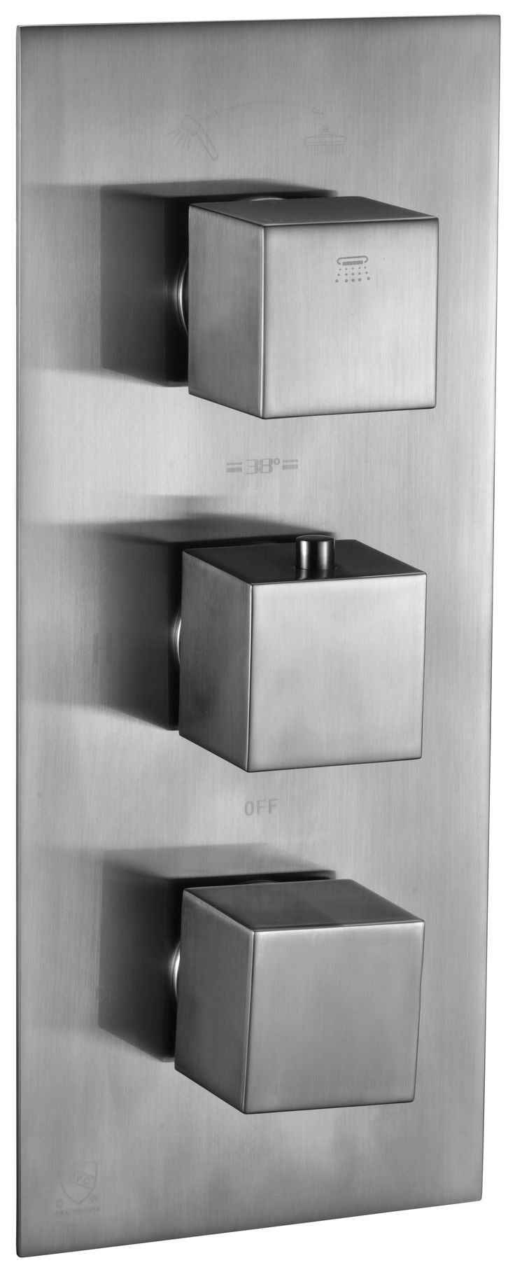 ALFI brand AB2701-BN Brushed Nickel Square 2 Way Thermostatic Shower Mixer