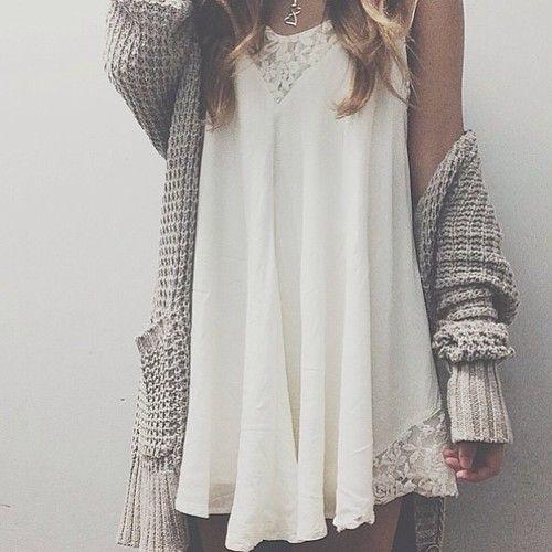 oversized knit sweater + lace dress