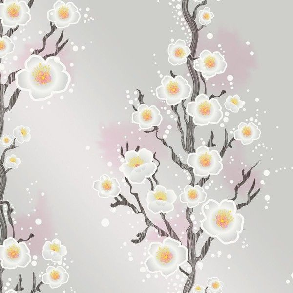 Cherry Blossom Self Adhesive Wallpaper in Silver by Cynthia Rowley for... (165 AUD) ❤ liked on Polyvore featuring home, home decor, wallpaper, branch wallpaper, silver home accessories, sakura wallpaper, pink cherry blossom wallpaper and self adhesive wallpaper