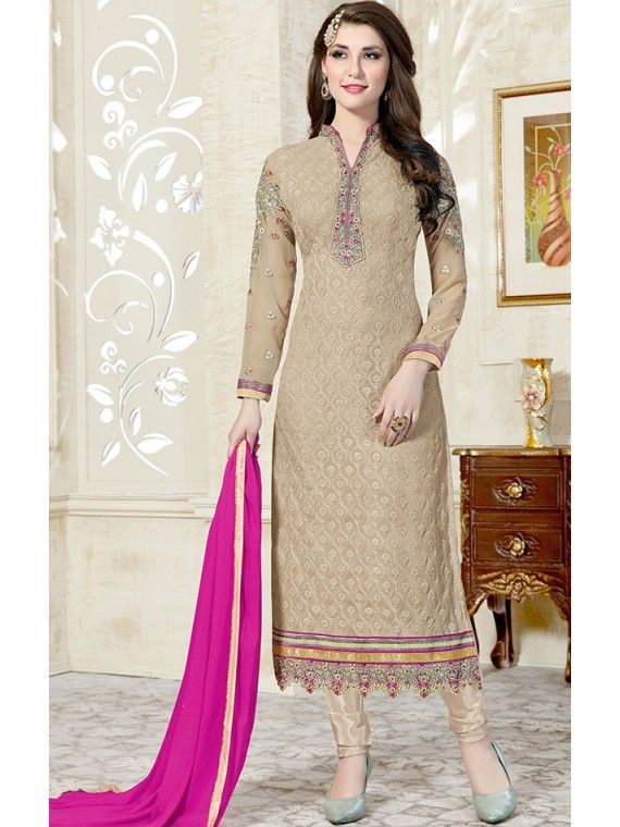 Modern Beige Grey Embroidery Salwar suit