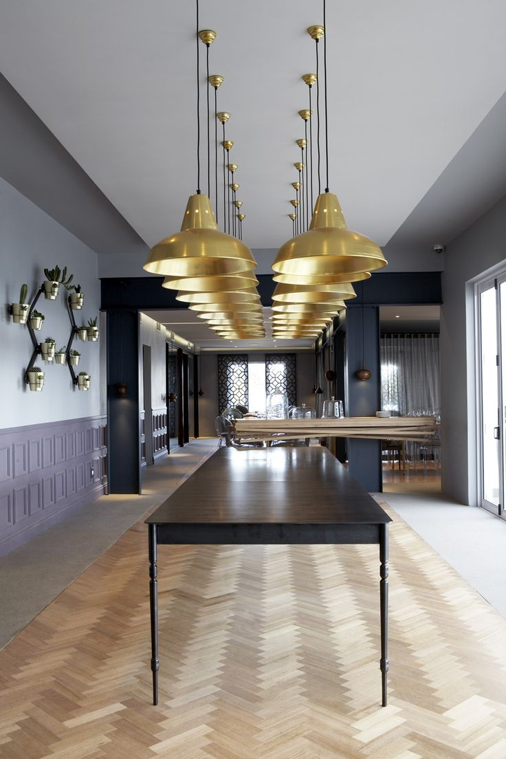 Restaurant | Boutique hotel | Gregor Jenkin | Steel table | Gold pendants | Herringbone floor | Wall planter | Joe Paine | Etienne Hanekom Interiors