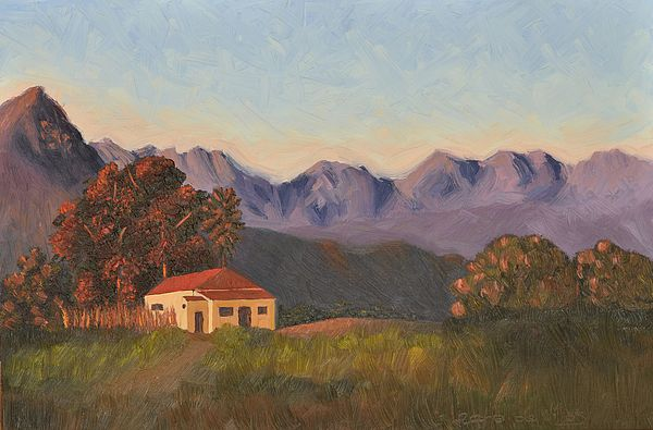 "Landscape painting of the Helderberg in Somerset West, South Africa. Art to decorate the walls in your home, from the bedrooms, dining room, lounge and study...or to spice up your office, waiting rooms and/or reception areas.  ""Sunlit Farmhouse"" is an original oil painting by South African Artist, Leana de Villiers  leanadevilliers.com"