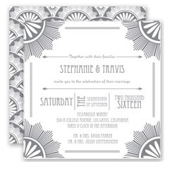 The timeless elegance of the roaring 20s provides the perfect backdrop for your vintage #wedding celebration! A two-sided art deco #invitation prints in your choice of color for a custom look. Invitations by David's Bridal Style Roaring 20s in Mercury