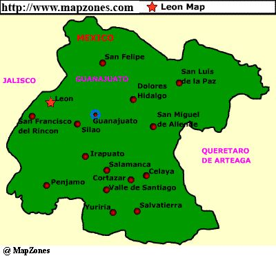 Leon Guanajuato Mexico Map Mapzones Com Leon Map Maps