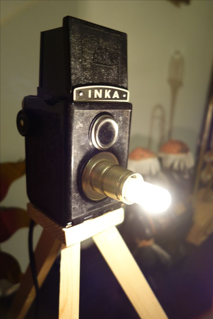 "1947 vintage Atak camera ""Inka"" turned into a table lamp."