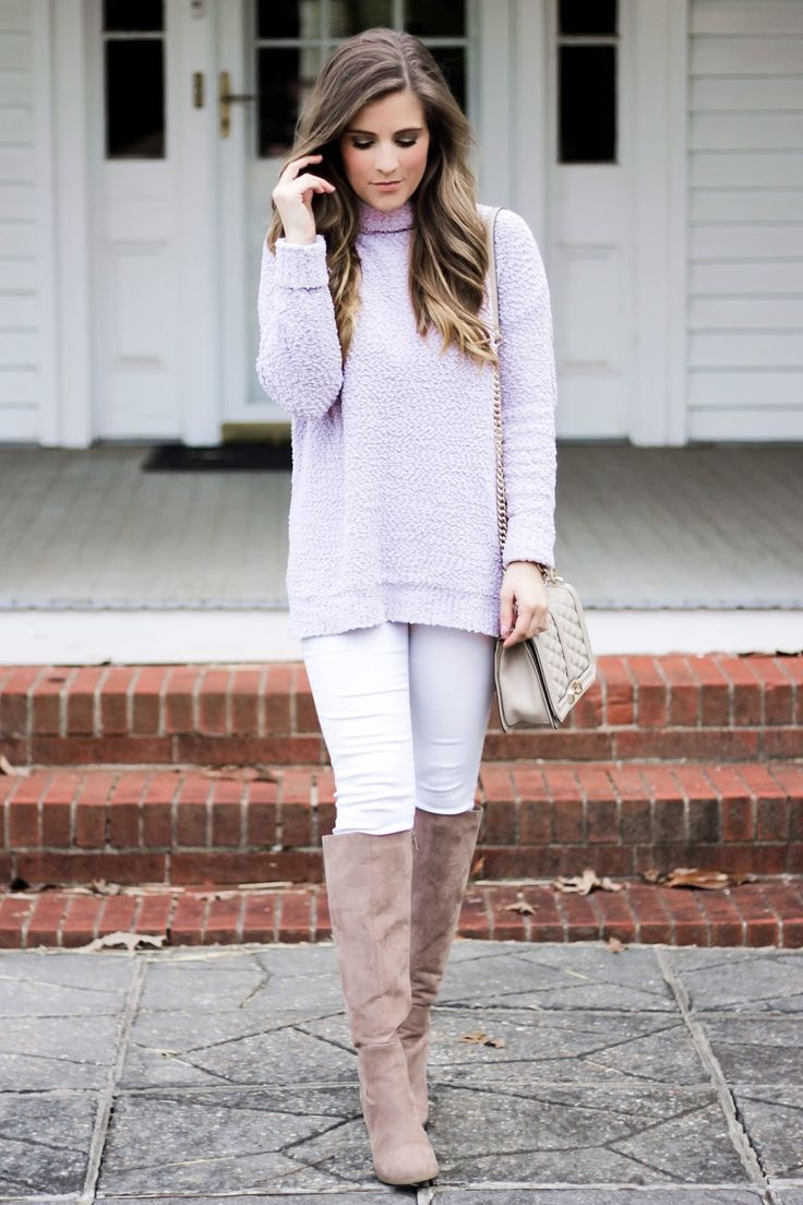 soft and lightweight purple boucle sweater