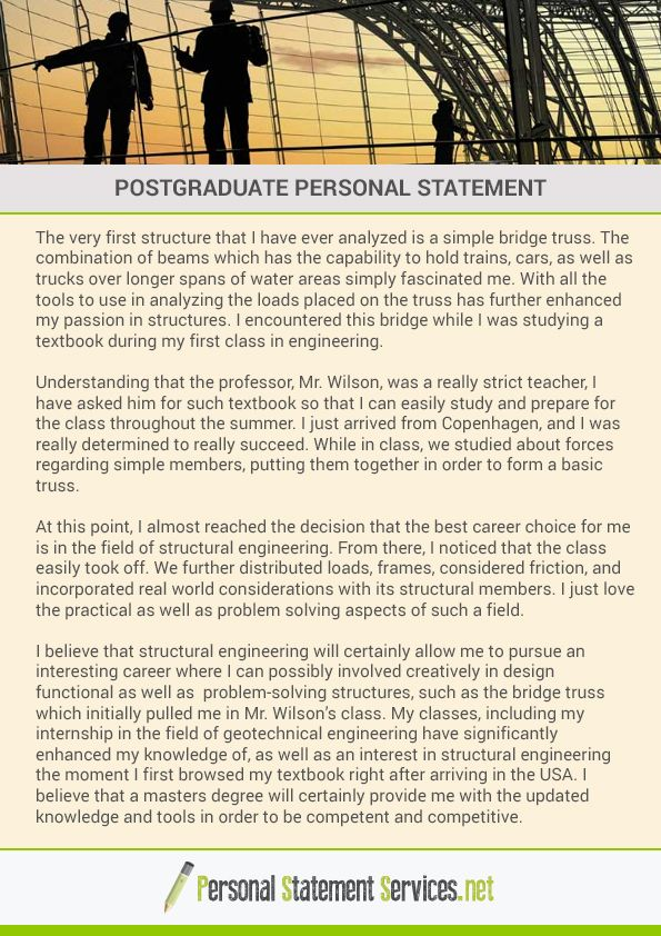 graduate degree personal statement Nearly all doctoral programs and many master's degree programs in psychology require submission of a personal statement as part of the application package in my experience advising students as well as serving as a graduate dean for many years, few things in the application process cause students.