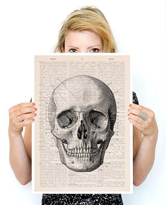 Menselijke schedel Poster A3 poster anatomische kunst door PRRINT