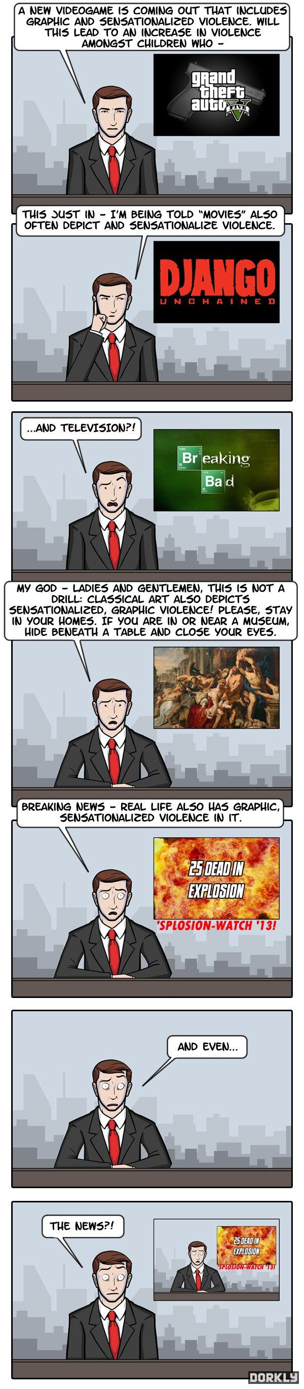 Culture of Violence - Dorkly Comic -> How can we say a game is violent when our own world is actually worse?