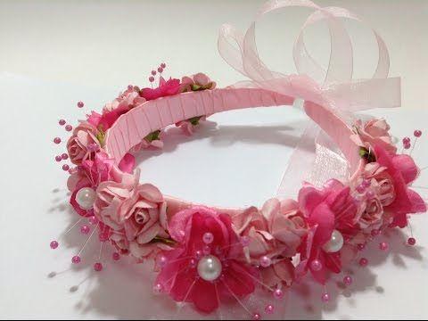 Como hacer una Tiara o Corona Floral para niñas. Diadema de Rosas - YouTube