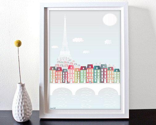 SALEParis Print Paris Skyline PRINTED por Ilustracionymas en Etsy
